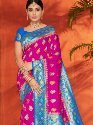 Silk Aqua Blue and Magenta Weaving Traditional Saree
