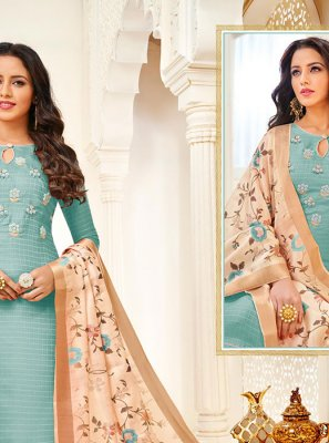 Silk Aqua Blue Digital Print Churidar Salwar Suit