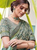 Silk Aqua Blue Digital Print Trendy Saree