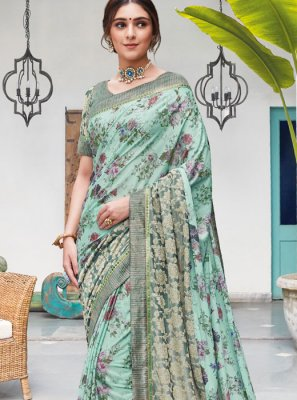 Silk Aqua Blue Digital Print Trendy Saree
