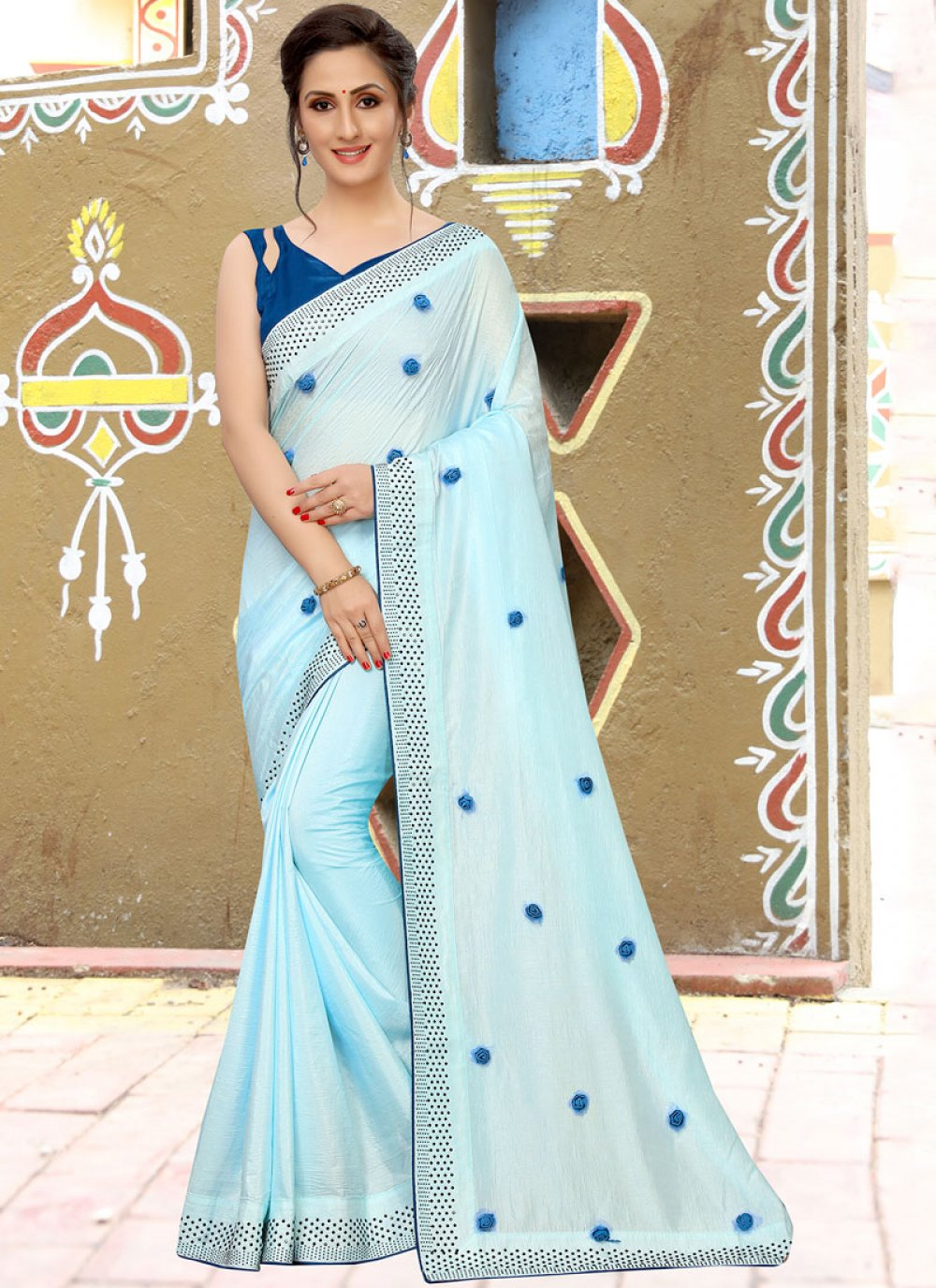 Silk Aqua Blue Embroidered Classic Saree