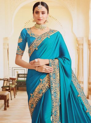 Silk Aqua Blue Embroidered Designer Contemporary Saree