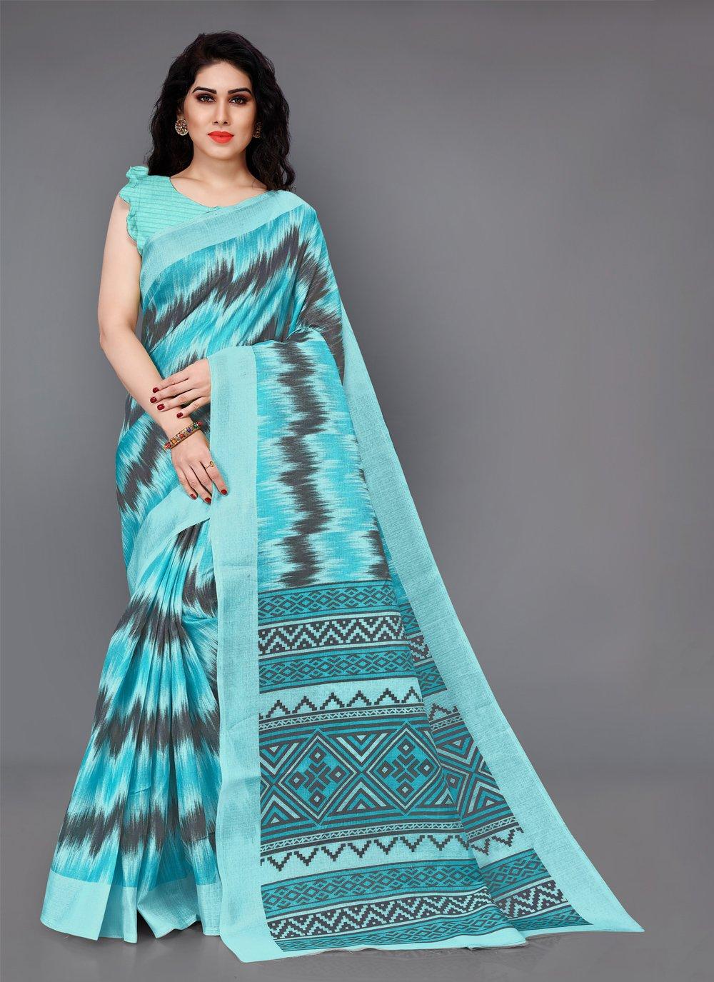 Silk Aqua Blue Printed Casual Saree