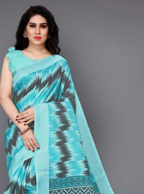 Silk Aqua Blue Printed Casual Saree