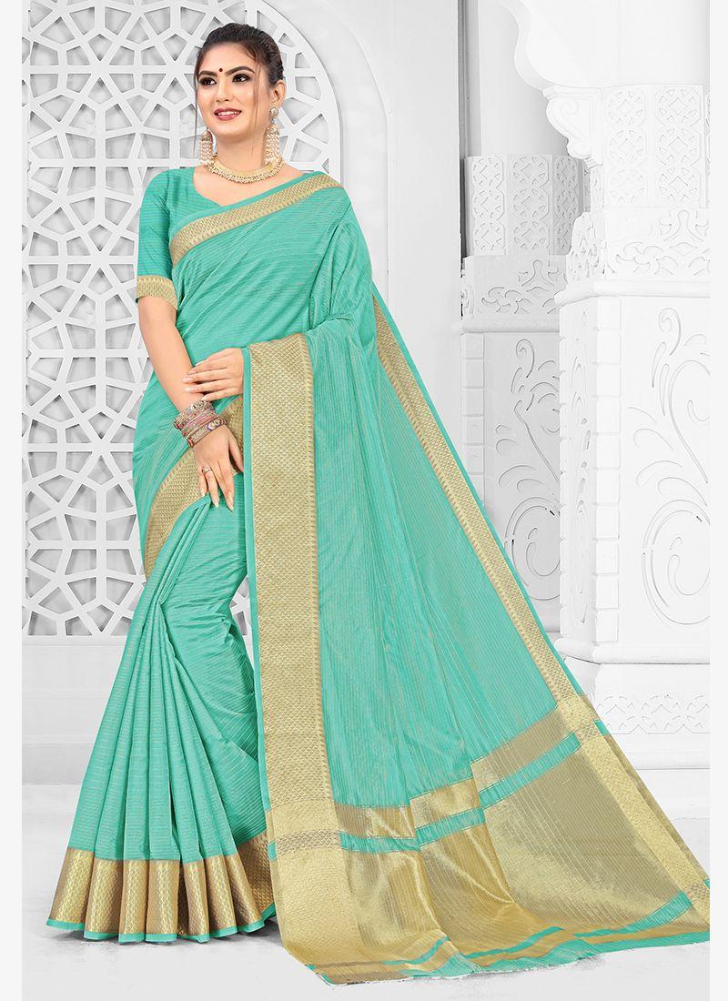 Silk Aqua Blue Traditional Saree