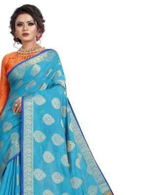 Silk Aqua Blue Weaving Classic Designer Saree