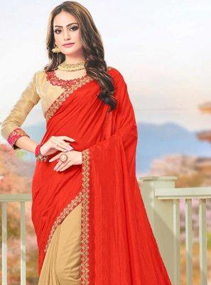 Silk Beige and Red Embroidered Designer Saree
