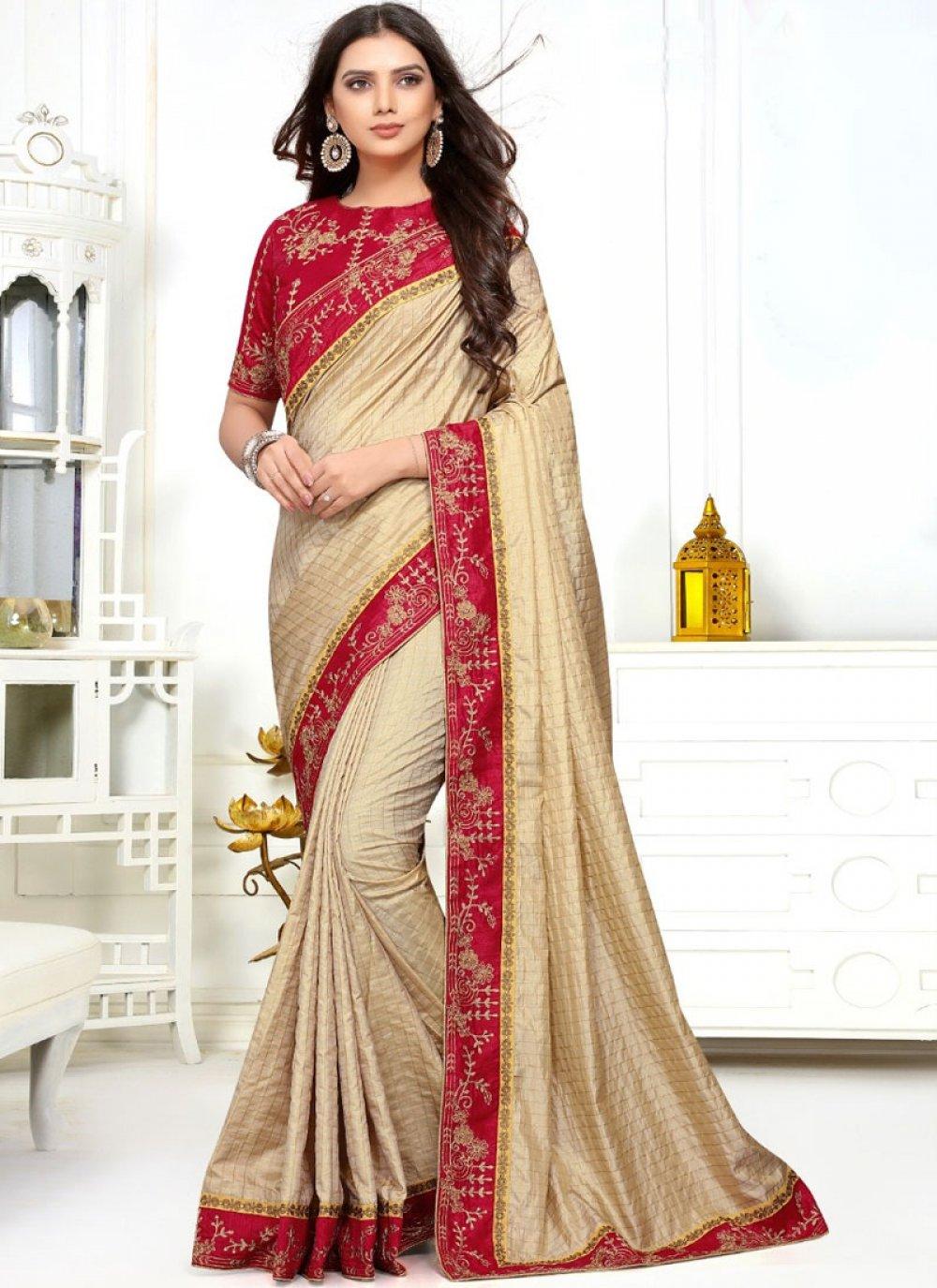 Silk Beige Classic Saree