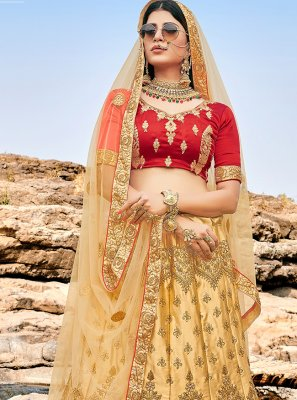 Silk Beige Embroidered Lehenga Choli