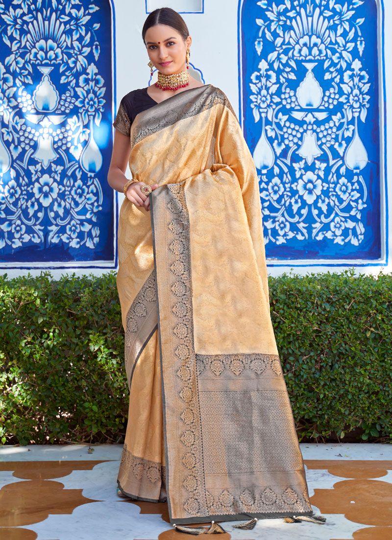 Silk Beige Weaving Silk Saree