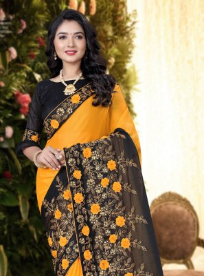 Silk Black and Yellow Trendy Saree