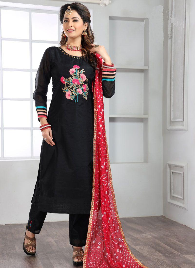 Silk Black Handwork Trendy Salwar Suit