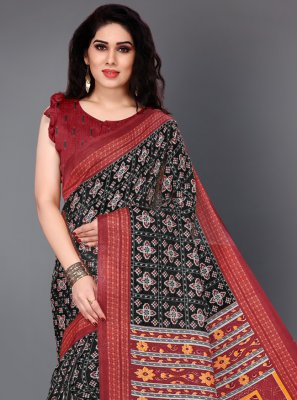 Silk Black Printed Casual Saree