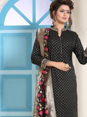 Silk Black Resham Salwar Kameez
