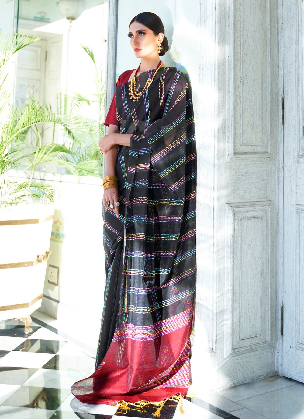 Silk Black Weaving Classic Saree
