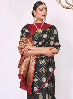 Silk Black Weaving Contemporary Saree