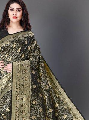Silk Black Woven Classic Saree