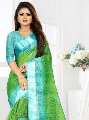 Silk Blue and Green Saree