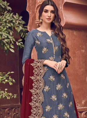 Silk Blue Embroidered Bollywood Salwar Kameez