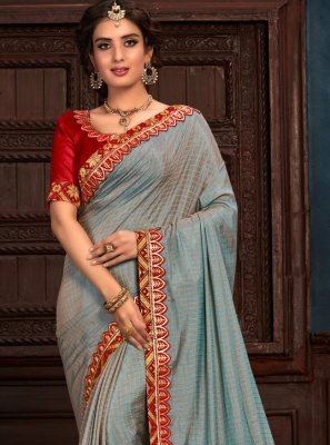 Silk Blue Embroidered Classic Saree