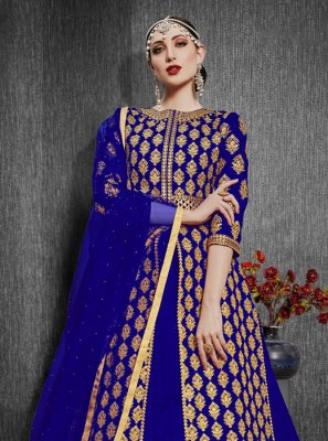 Silk Blue Embroidered Designer Lehenga Choli