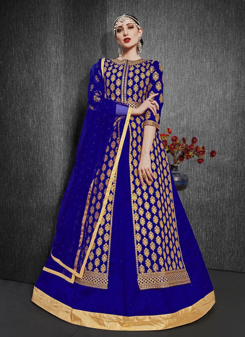 Silk Blue Embroidered Designer Lehenga Choli