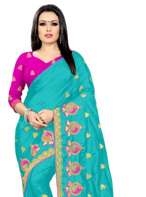 Silk Blue Embroidered Designer Saree
