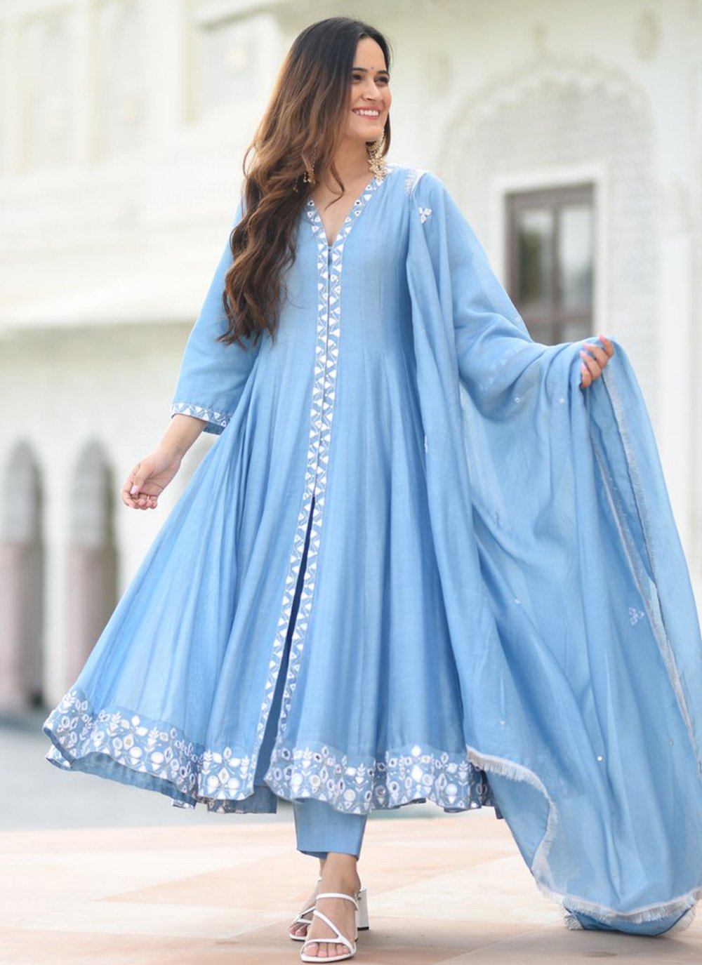 Silk Blue Embroidered Layered Gown