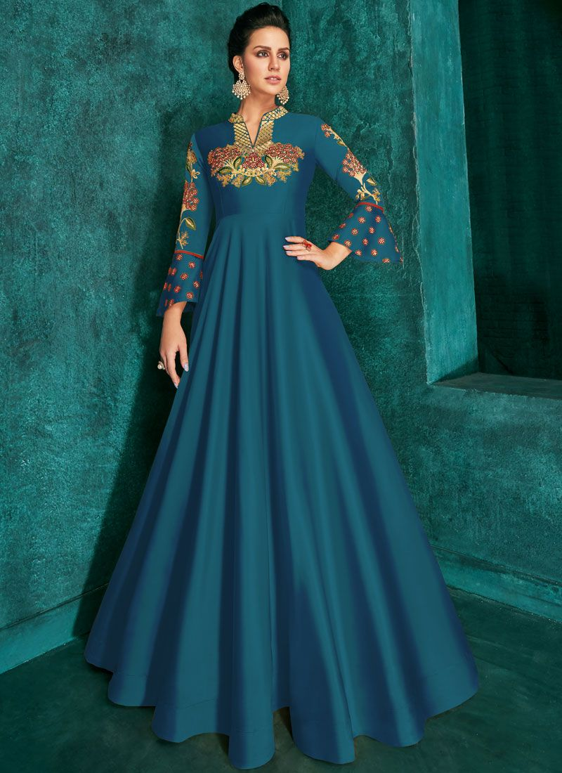 Silk Blue Embroidered Trendy Gown
