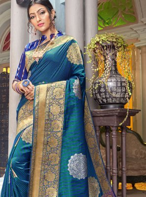 Silk Blue Weaving Classic Saree