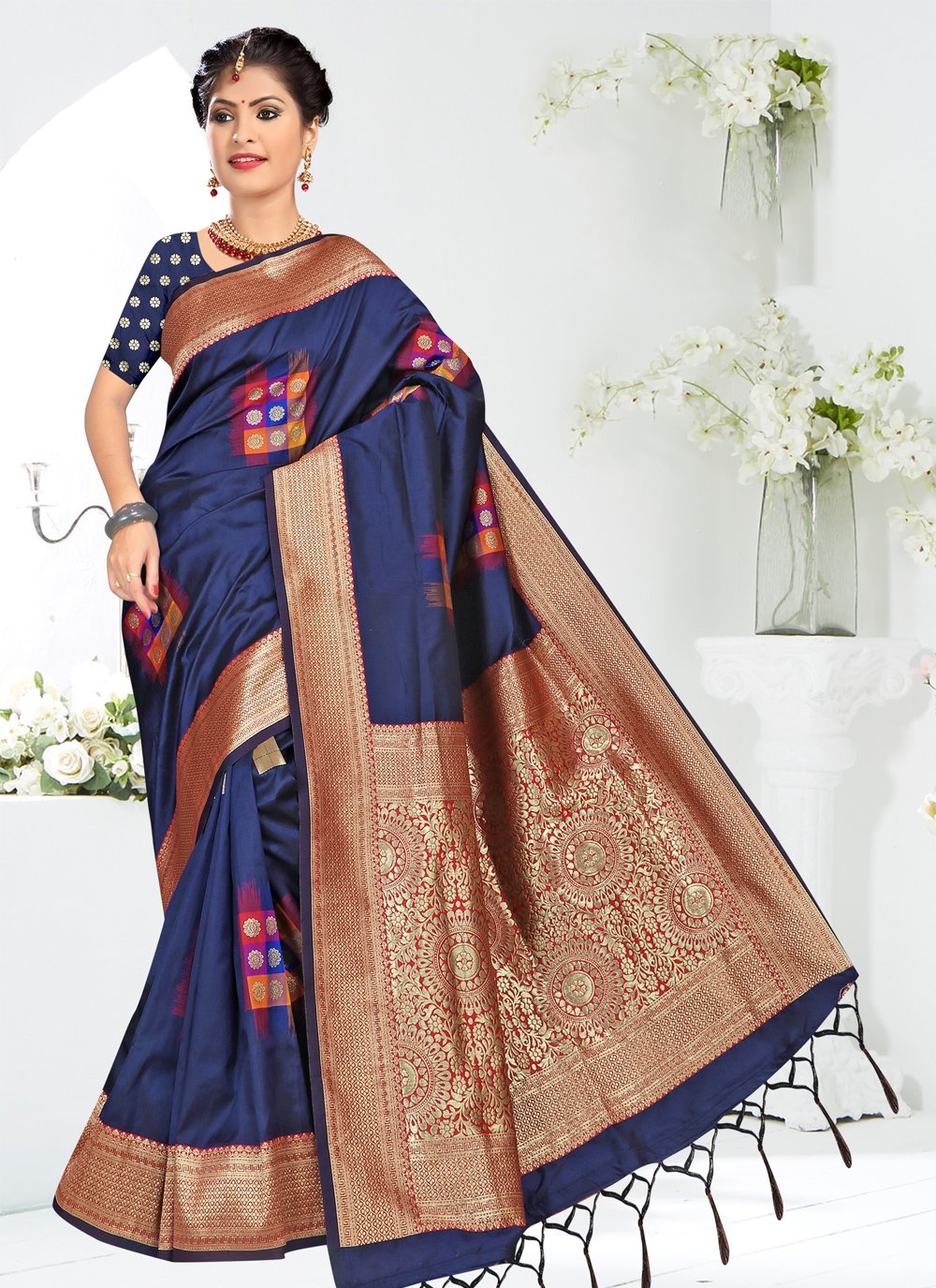Silk Blue Weaving Traditional Saree