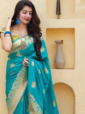 Silk Blue Weaving Trendy Saree