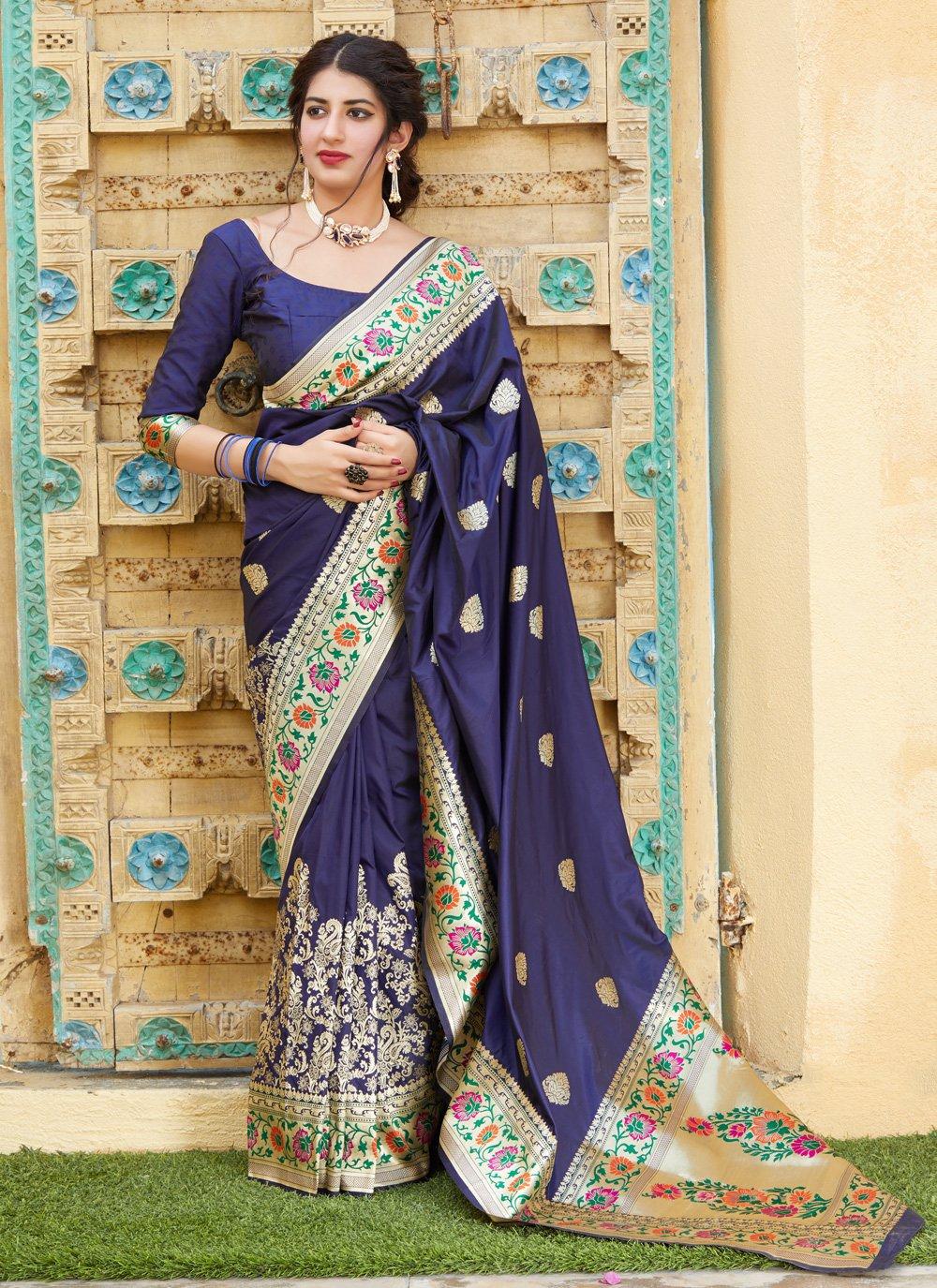 Silk Bollywood Saree in Navy Blue