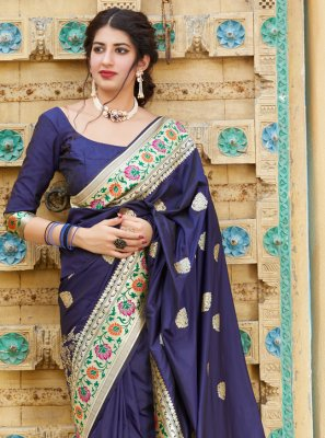 Silk Bollywood Saree in Navy Blue