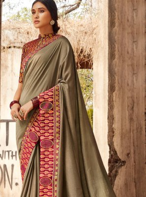 Silk Border Brown Designer Saree