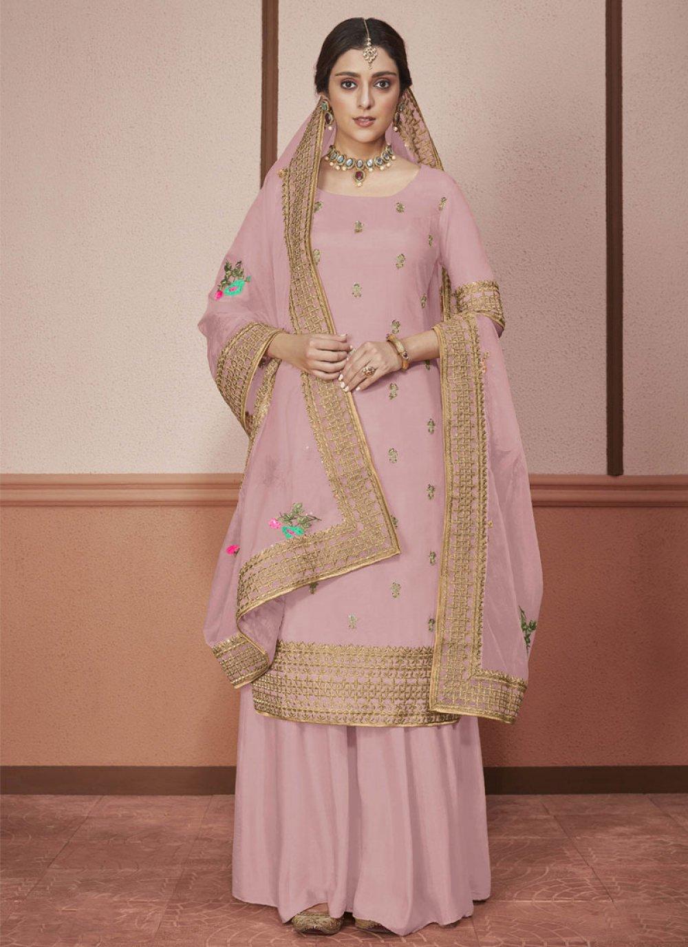 Silk Border Straight Salwar Suit in Pink