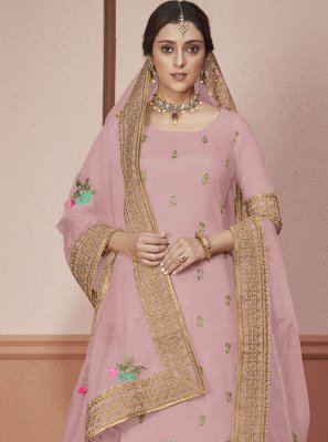 Silk Border Straight Salwar Suit in Pink