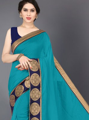 Silk Border Turquoise Designer Saree