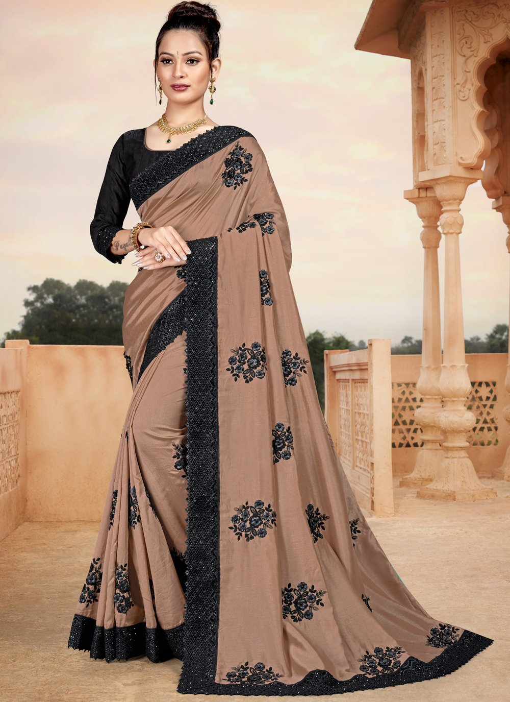 Silk Brown Classic Saree