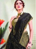 Silk Brown Crystal Traditional Designer Saree
