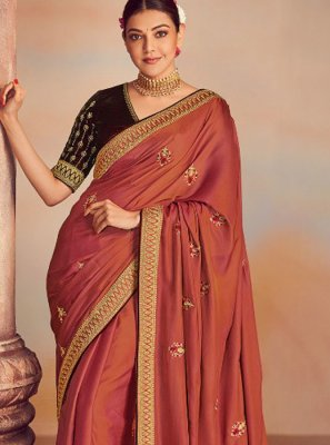 Silk Brown Embroidered Classic Designer Saree