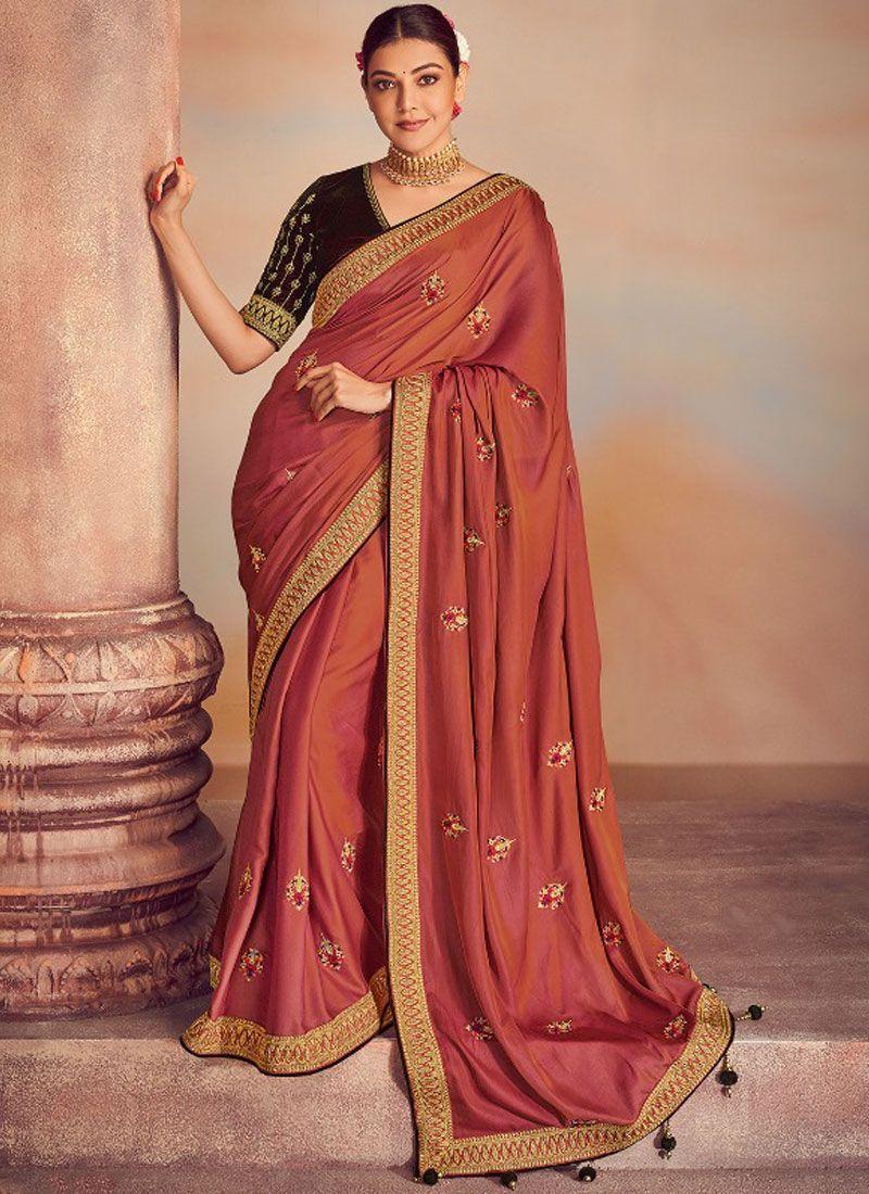 Silk Brown Embroidered Classic Designer Saree