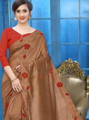Silk Brown Embroidered Classic Saree