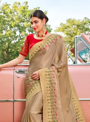 Silk Brown Embroidered Designer Saree