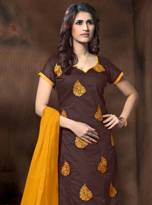Silk Brown Embroidered Salwar Suit