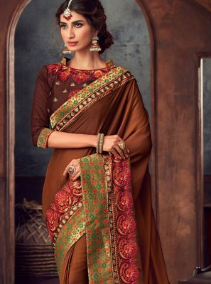 Silk Brown Embroidered Trendy Saree
