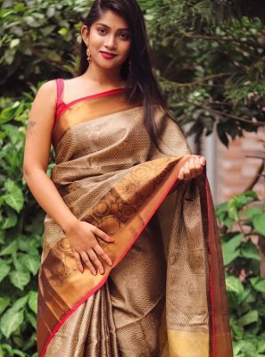 Silk Brown Weaving Trendy Saree