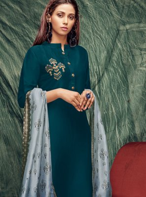 Silk Casual Kurti in Teal