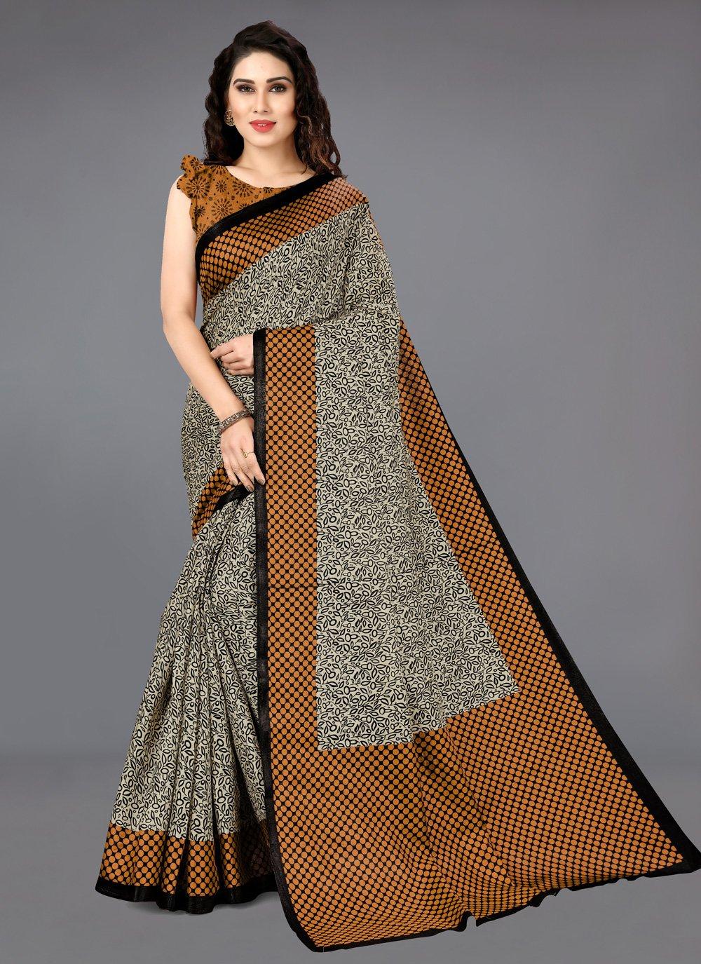 Silk Casual Saree in Brown
