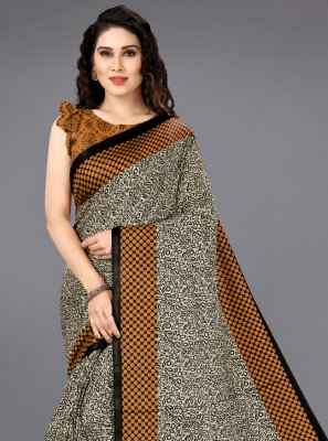 Silk Casual Saree in Brown